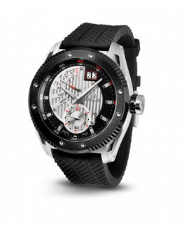SECULUS watch For Men's solid stainless steel sapphire crystal Genuine Rubber strap with steel deployment buckle
