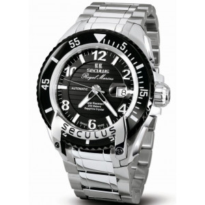 SECULUS watch For Men's solid stainless steel sapphire crystal Stainless-steel strap with steel deployment buckle